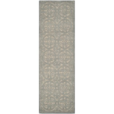 Cambridge Dusty Hand-Tufted Blue/Cement Area Rug Rug Size: Runner 26 x 6