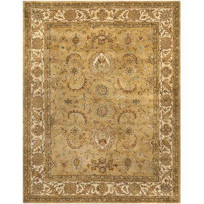 Classic Hand Tufted Wool Gold/Ivory Area Rug Rug Size: 5 x 8