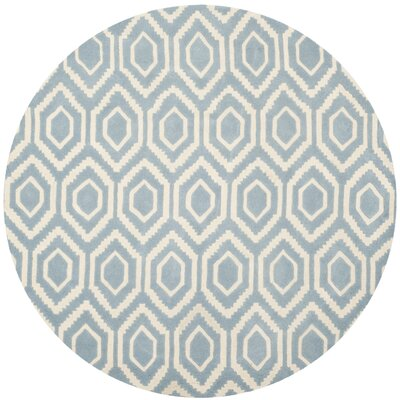 Wilkin Hand-Tufted Blue/Ivory Area Rug Rug Size: Round 7