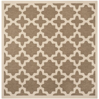 Clarksburg Brown/Bone Indoor/Outdoor Area Rug Rug Size: Square 4
