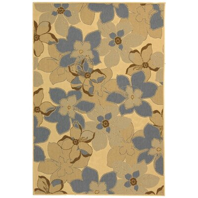 Courtyard Natural Brown / Blue Rug Rug Size: 53 x 77