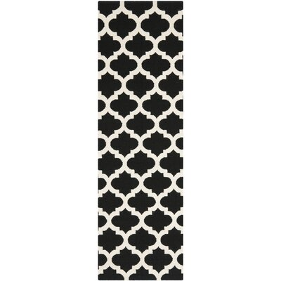 Dhurries Black & Ivory Area Rug Rug Size: Runner 26 x 7