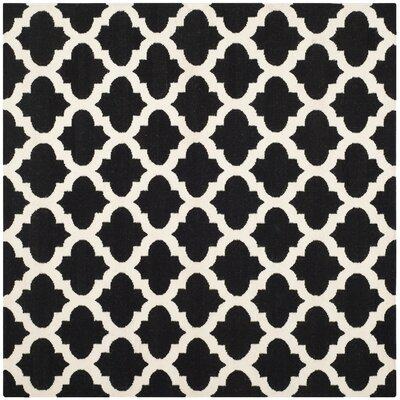 Dhurries Black & Ivory Area Rug Rug Size: Square 6
