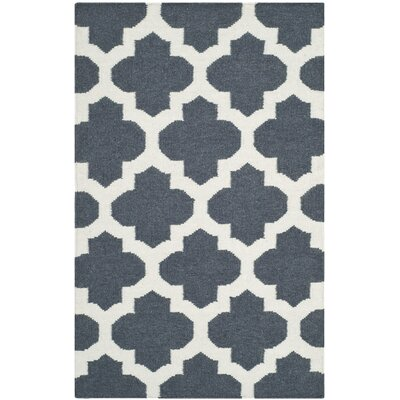 Dhurries Hand-Woven Wool Blue/Ivory Area Rug Rug Size: Rectangle 26 x 4