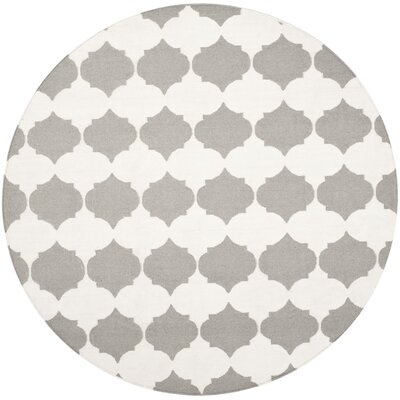 Dhurries Grey & Ivory Area Rug Rug Size: Round 7