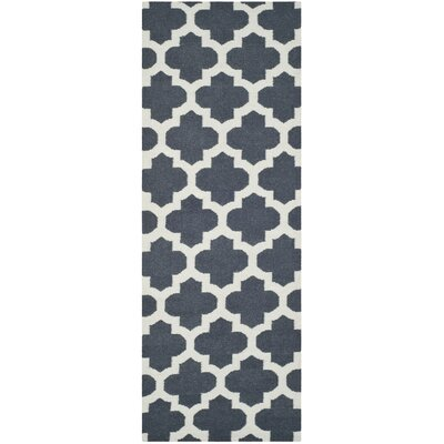 Dhurries Blue/Ivory Area Rug Rug Size: Runner 26 x 7