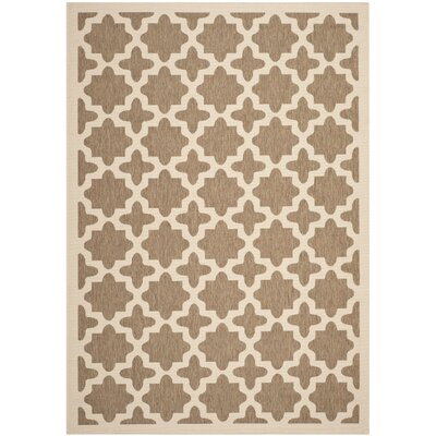 Courtyard Brown/Bone Indoor/Outdoor Area Rug Rug Size: 8 x 11
