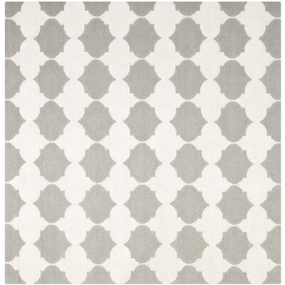 Dhurries Grey & Ivory Area Rug Rug Size: Square 7