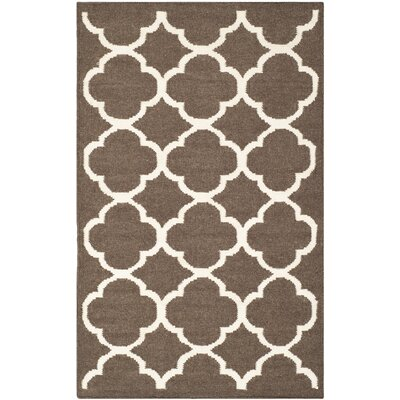 Dhurries Brown/Ivory Area Rug Rug Size: Rectangle 26 x 4