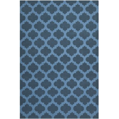 Dhurries Hand-Woven Wool Blue Area Rug Rug Size: Rectangle 6 x 9