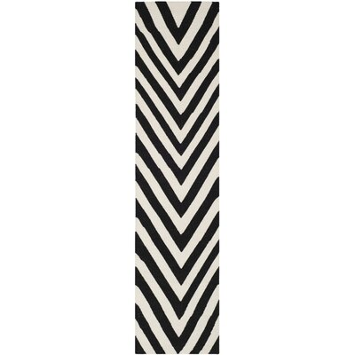 Dhurries Wool Hand-Woven Black/Ivory Area Rug Rug Size: Runner 26 x 10