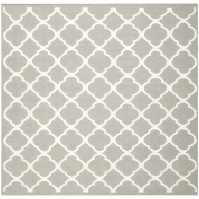 Dhurries Light Grey & Ivory Reversible Area Rug Rug Size: Square 7