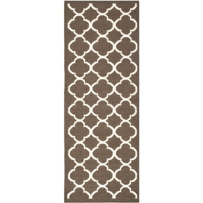 Dhurries Brown/Ivory Area Rug Rug Size: Runner 26 x 7