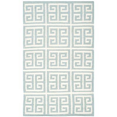 Dhurries Blue/Ivory Area Rug Rug Size: 9 x 12