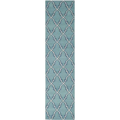 Dhurries Hand-Woven Wool Light Blue/Ivory Area Rug Rug Size: Runner 26 x 12