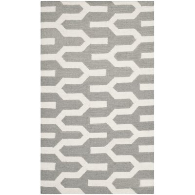 Dhurries Hand-Woven Wool Gray/Ivory Area Rug Rug Size: Rectangle 26 x 4