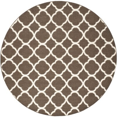 Dhurries Brown/Ivory Area Rug Rug Size: Round 7'