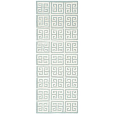 Dhurries Blue/Ivory Area Rug Rug Size: Runner 2'6