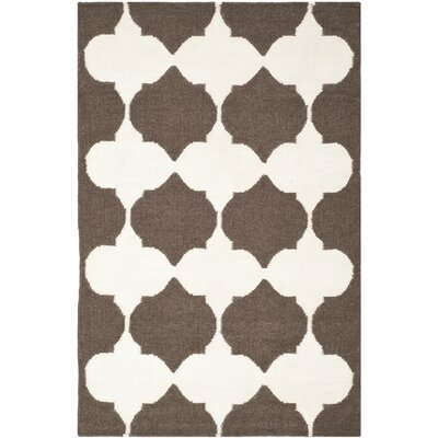 Dhurries Brown/Ivory Area Rug Rug Size: Rectangle 4 x 6