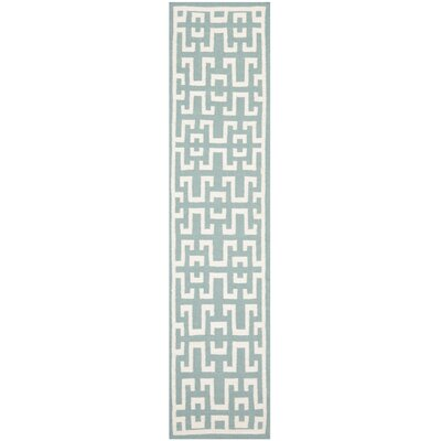 Dhurries Seafoam/Ivory Outdoor Area Rug Rug Size: Runner 2'-6