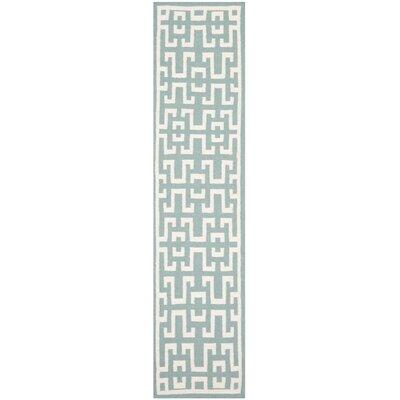 Hand-Woven Wool Seafoam/Ivory Area Rug Rug Size: Runner 26 x 10