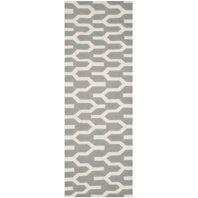 Dhurries Hand-Woven Wool Gray/Ivory Area Rug Rug Size: Runner 26 x 7