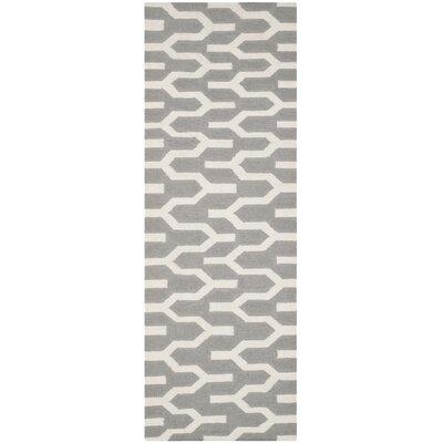 Dhurries Grey & Ivory Area Rug I Rug Size: Runner 26 x 7