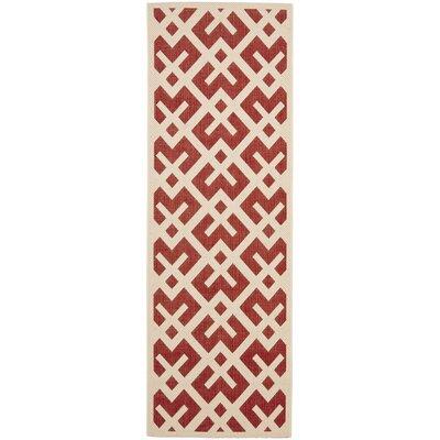 Courtyard Red / Bone Outdoor Rug Rug Size: Runner 2'-3