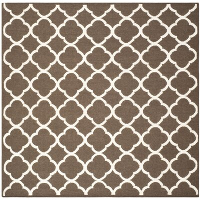 Dhurries Brown/Ivory Area Rug Rug Size: Square 7