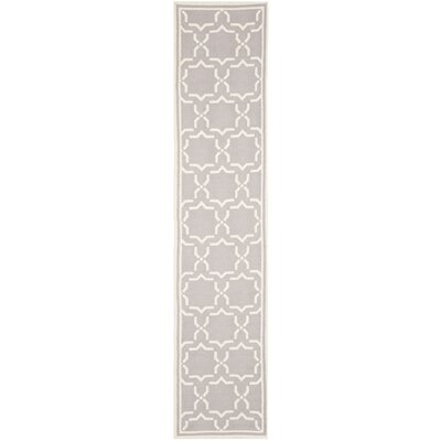 Dhurries Hand-Woven Wool Purple/Ivory Area Rug Rug Size: Runner 26 x 12