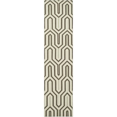 Dhurries Hand-Woven Wool Brown/Green/Beige Area Rug Rug Size: Runner 26 x 10