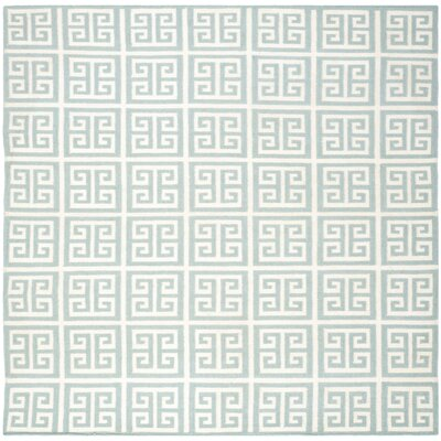 Dhurries Hand-Woven Wool Blue/Ivory Area Rug Rug Size: Square 7