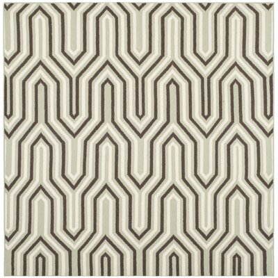Dhurries Hand-Woven Wool Brown/Green/Beige Area Rug Rug Size: Square 6