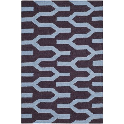 Dhurries Purple/Blue Area Rug Rug Size: 6 x 9