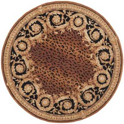 Naples Brown Area Rug Rug Size: Round 4