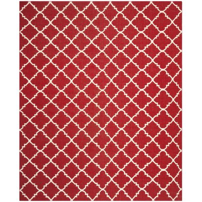 Dhurries Red/Ivory Area Rug Rug Size: Rectangle 8' x 10'