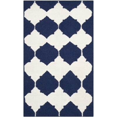 Dhurries Navy/Ivory Area Rug Rug Size: 2'6