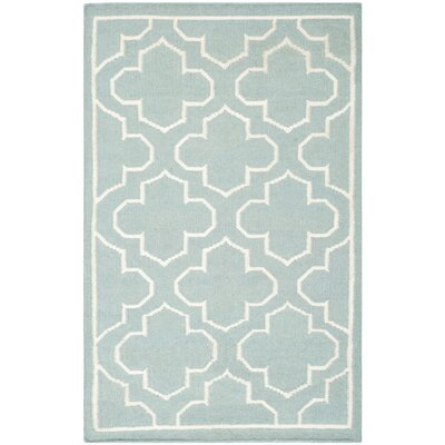 Dhurries Blue/Ivory Area Rug Rug Size: Rectangle 26 x 4