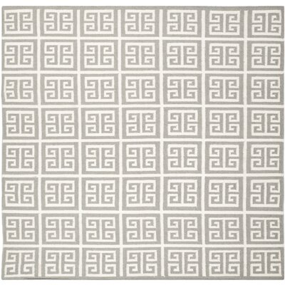 Dhurries Handmade Wool Gray/Ivory Area Rug Rug Size: Square 7
