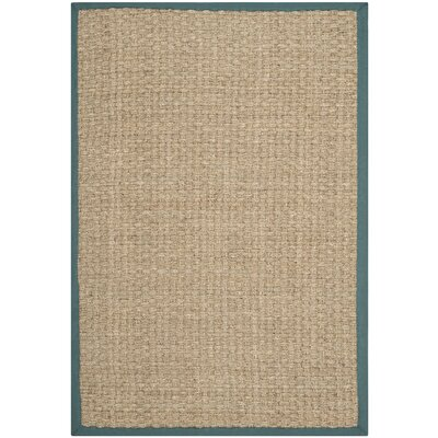 Richmond Natural/Light Blue Indoor Area Rug Rug Size: Rectangle 4 x 6