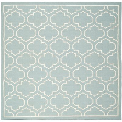 Dhurries Blue/Ivory Area Rug Rug Size: Square 7'