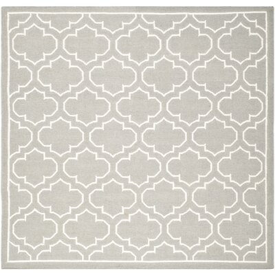 Dhurries Hand-Woven Wool Gray/Ivory Area Rug Rug Size: Square 7