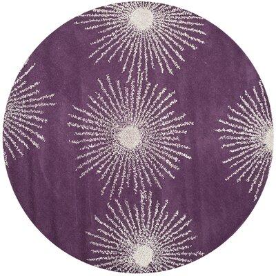 Soho Purple & Ivory Area Rug Rug Size: Round 6'