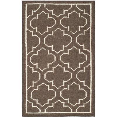 Dhurries Brown Area Rug Rug Size: 26 x 4