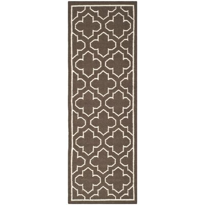 Dhurries Brown Area Rug Rug Size: Runner 26 x 7