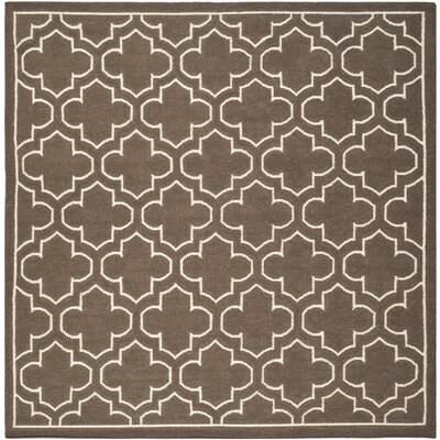 Dhurries Brown Area Rug Rug Size: Square 7