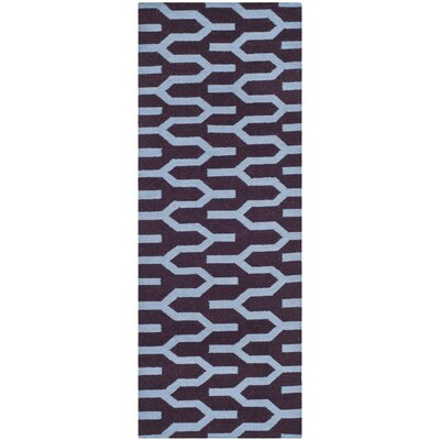 Dhurries Hand-Woven Wool Purple/Blue Area Rug Rug Size: Runner 26 x 7