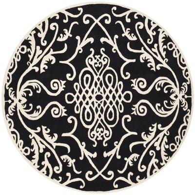 Soho Black / Ivory Rug Rug Size: Round 6'