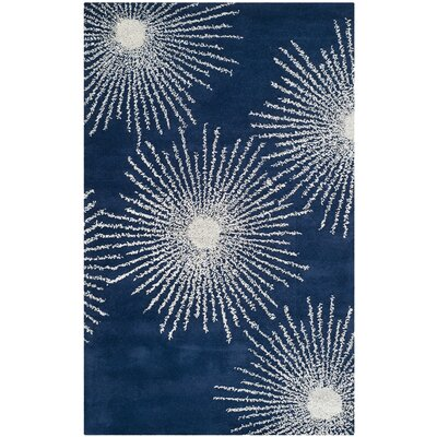 Dash Hand-Tufted Dark Blue/Ivory Area Rug Rug Size: Rectangle 76 x 96