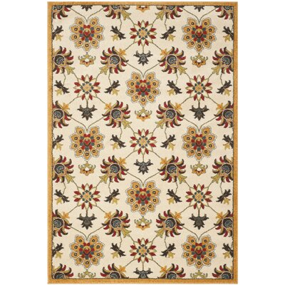 Newport Ivory/Gold Floral Area Rug Rug Size: Rectangle 3 x 5